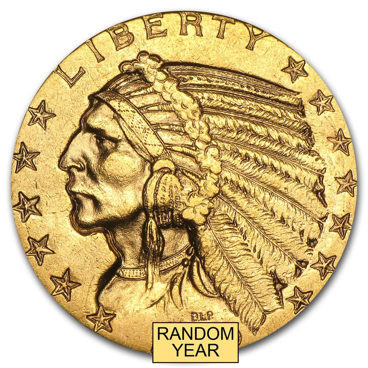 $5 Indian Gold Half Eagle AU (Random Year)