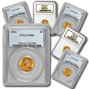 $3 Gold Princess - MS-61 NGC or PCGS