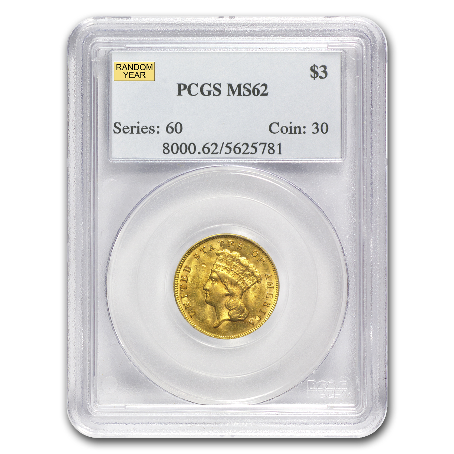 $3 Gold Princess MS-62 NGC/PCGS - Random Year