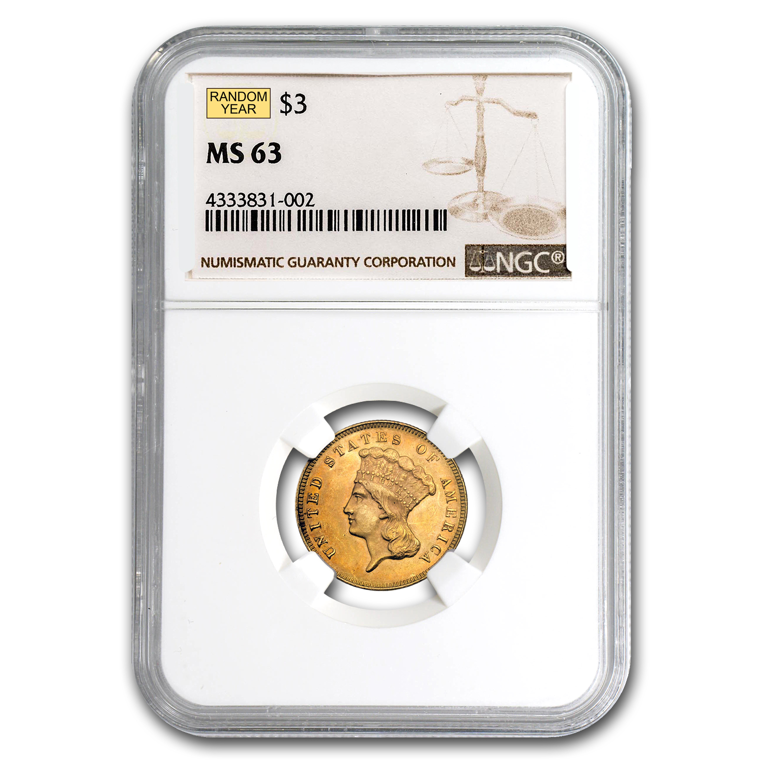 $3 Gold Princess - MS-63 NGC or PCGS