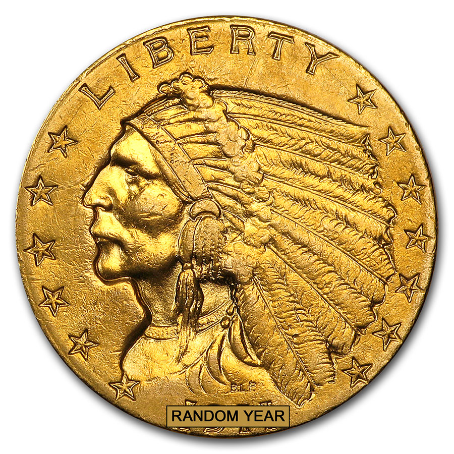 $2.50 Indian Gold Quarter Eagle - Cleaned