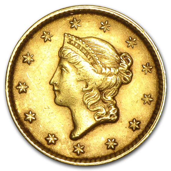 $1 Liberty Head Gold Type 1 Almost Uncirculated
