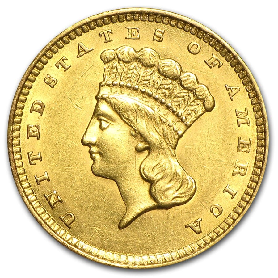 $1 Indian Head Gold Type 3 Almost Uncirculated