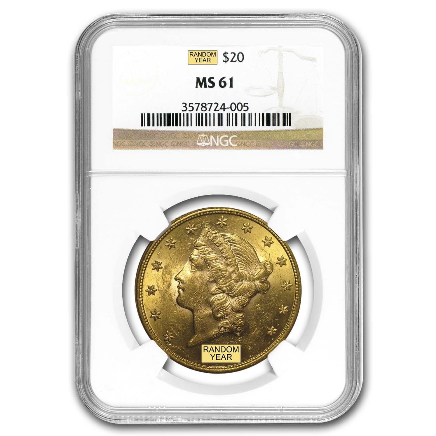 $20 Gold Liberty Double Eagle MS-61 NGC