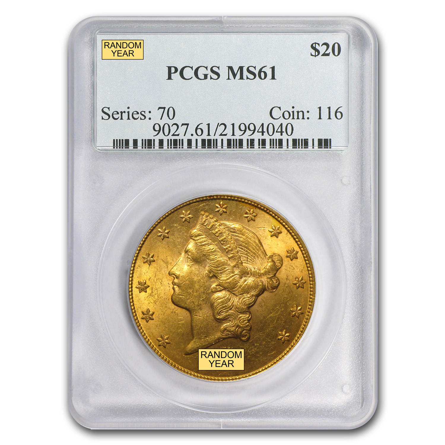 $20 Gold Liberty Double Eagle MS-61 PCGS