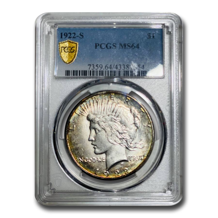 1922-S Peace Dollar MS-64 PCGS