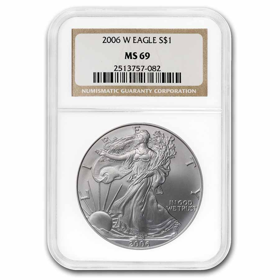 2006-W Burnished Silver American Eagle MS-69 NGC