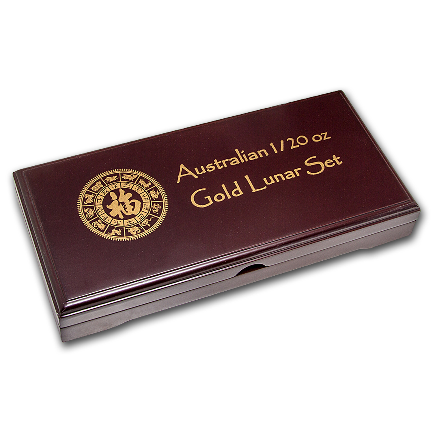 Lunar Series I (1/20 oz Gold) 12 Coin Wood Presentation Box