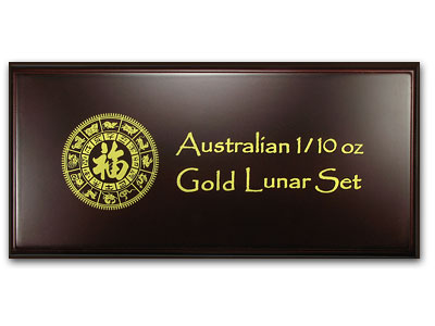 Lunar Series I (1/10 oz Gold) - 12 Coin Wood Presentation Box