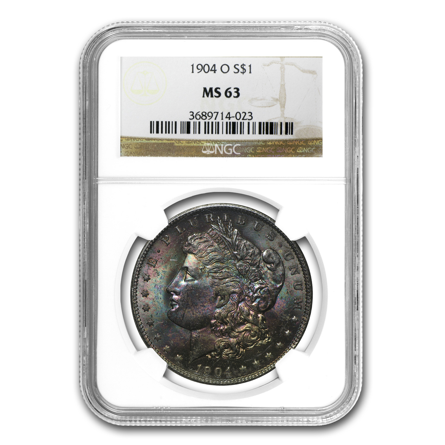 1904-O Morgan Dollar MS-63 NGC (Beautiful Obv Toning)
