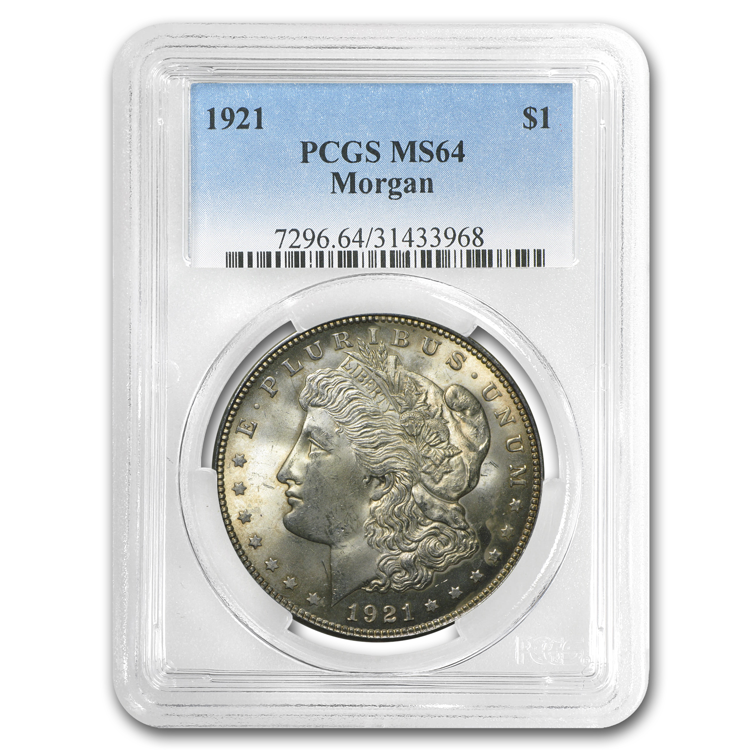 1921 Morgan Dollar MS-64 PCGS (Toned)