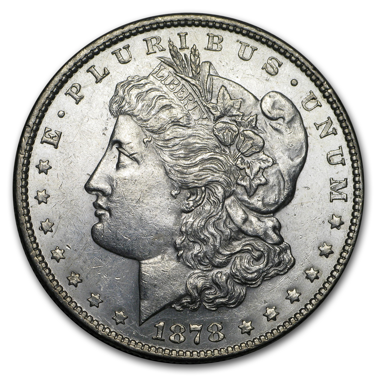 1878 Morgan Dollar 7 Tailfeathers Rev of 1878 AU-58