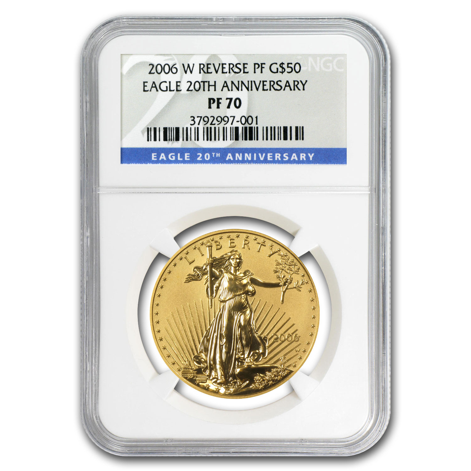 2006-W 1 oz Reverse Proof Gold Eagle PF-70 NGC (20th Anniv)