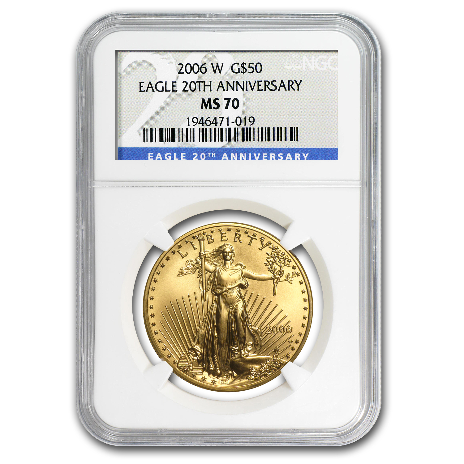 2006-W 1 oz Burnished Gold Eagle MS-70 NGC (20th Anniversary)