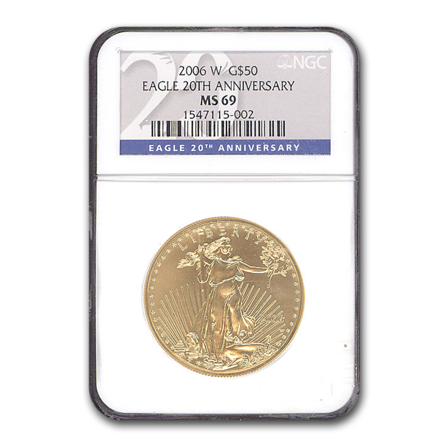 2006-W 1 oz Burnished Gold Eagle MS-69 NGC (20th Anniversary)