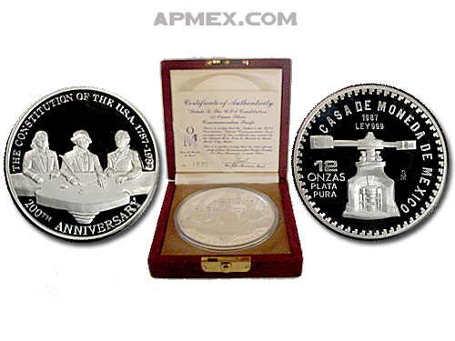 1987 Mexico 12 oz Silver 12 Onzas Proof