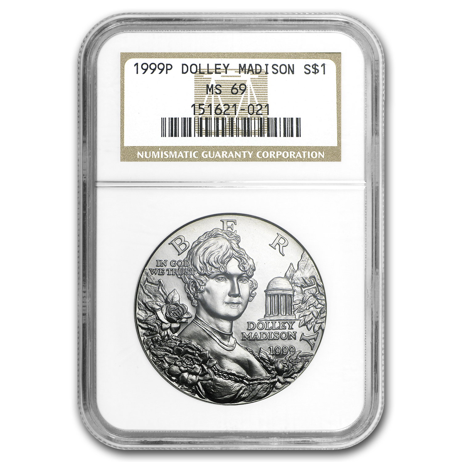 1999-P Dolley Madison $1 Silver Commem MS-69 NGC