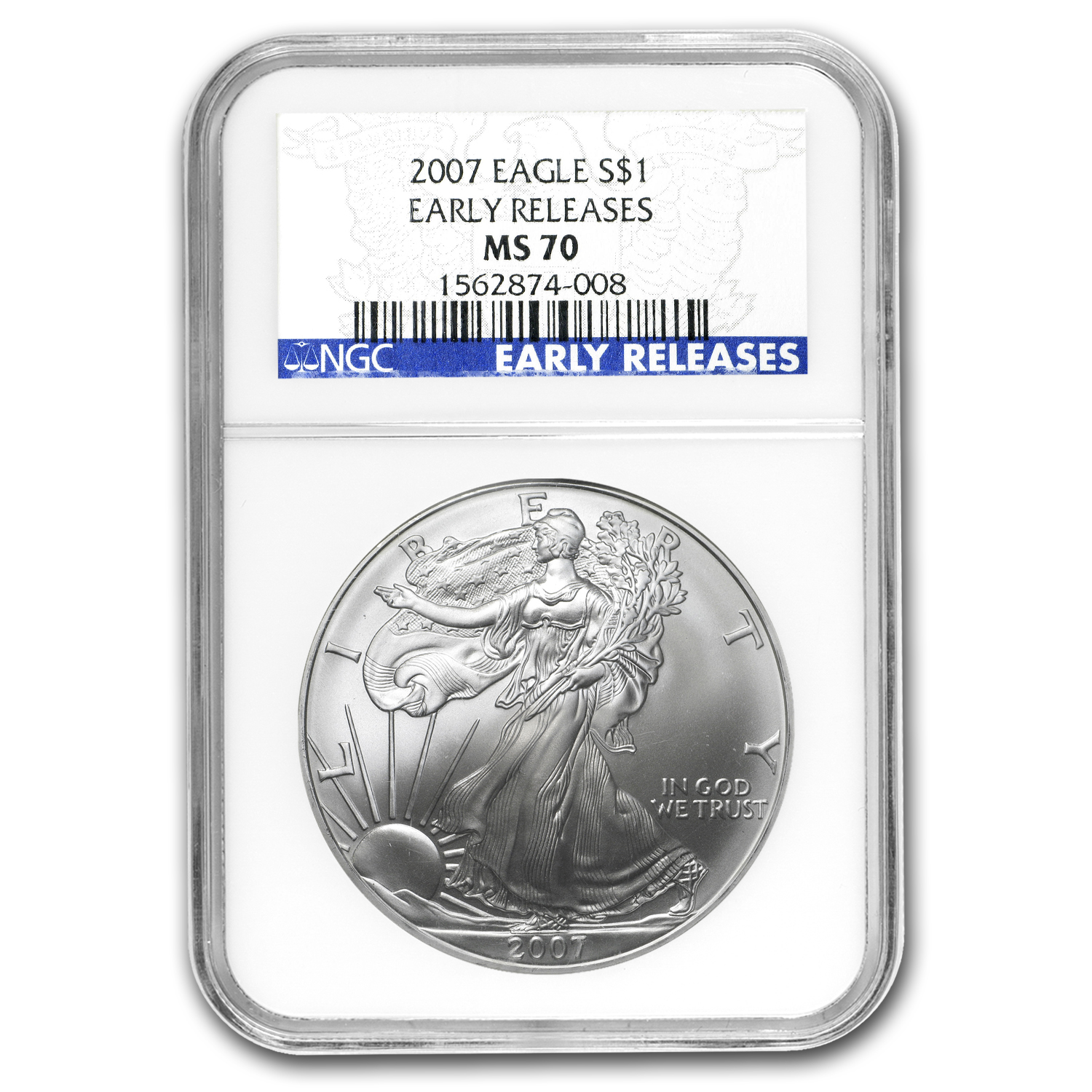 2007 Silver American Eagle - Early Releases - MS-70 NGC