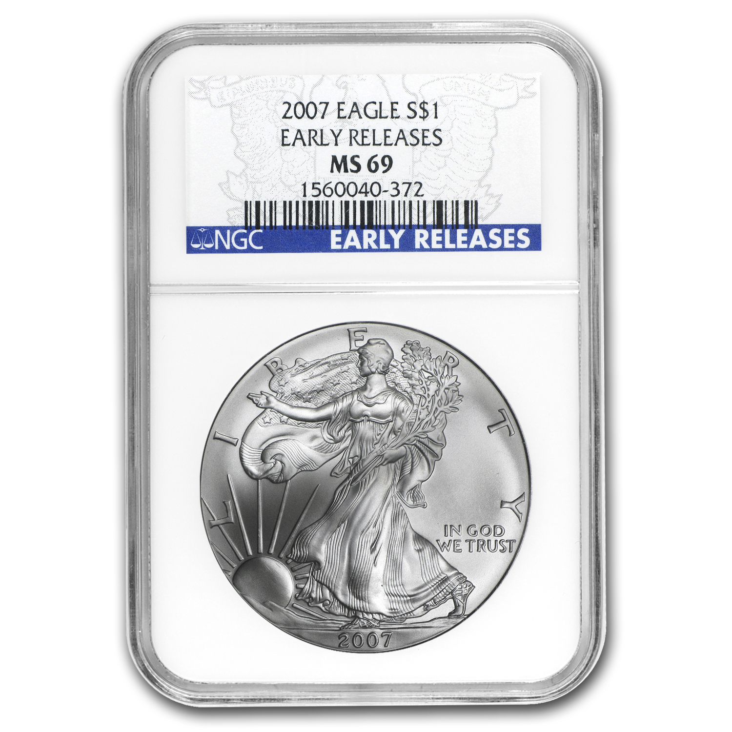 2007 Silver American Eagle - MS-69 NGC - Blue Label/Early Release