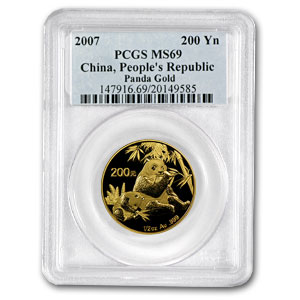 2007 China 1/2 oz Gold Panda MS-69 PCGS