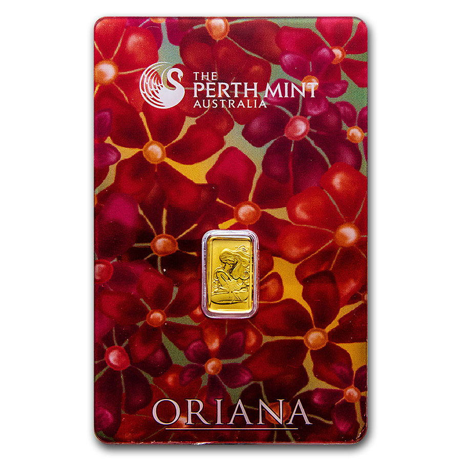 1 gram Gold Bar - Perth Mint Oriana Design (In Assay)