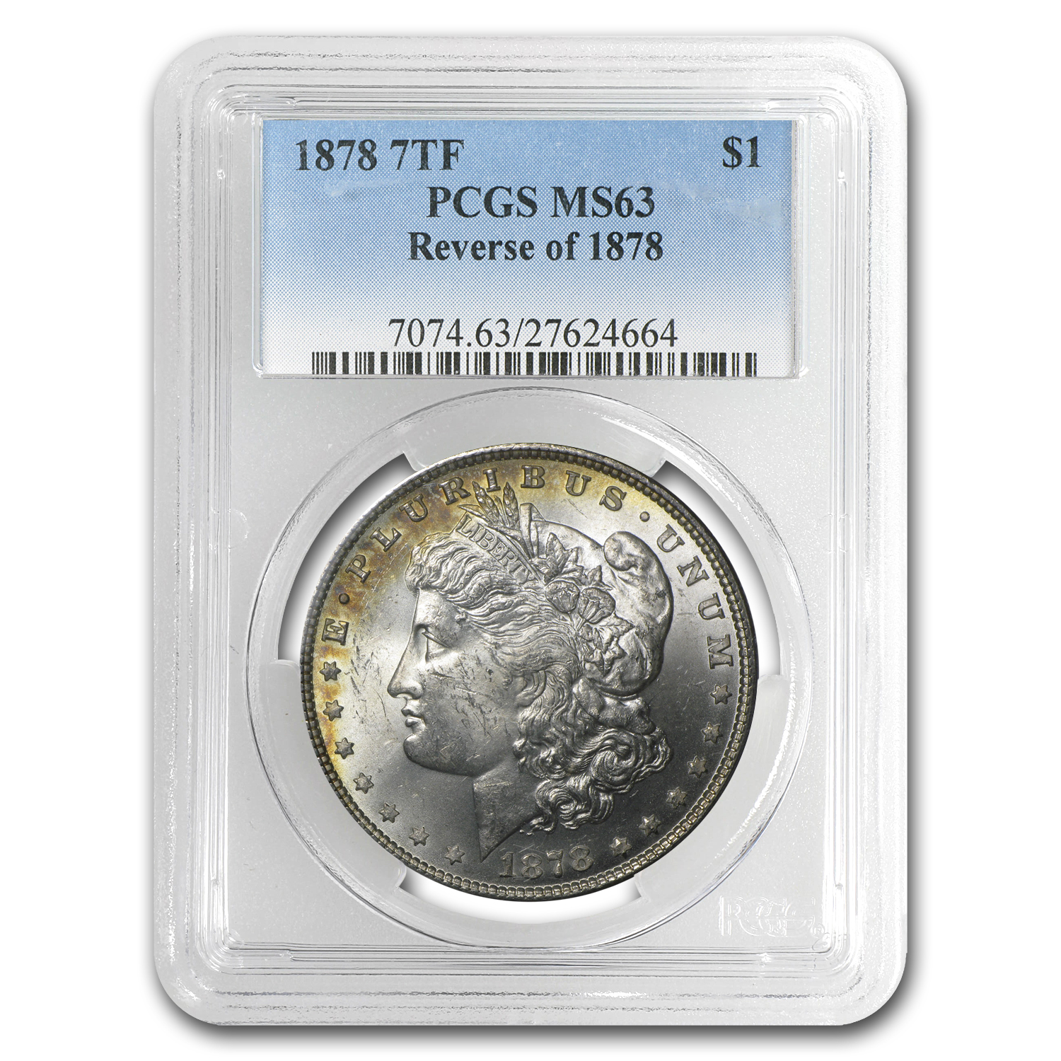 1878 Morgan Dollar 7 TF Rev of 78 MS-63 PCGS (Toned)