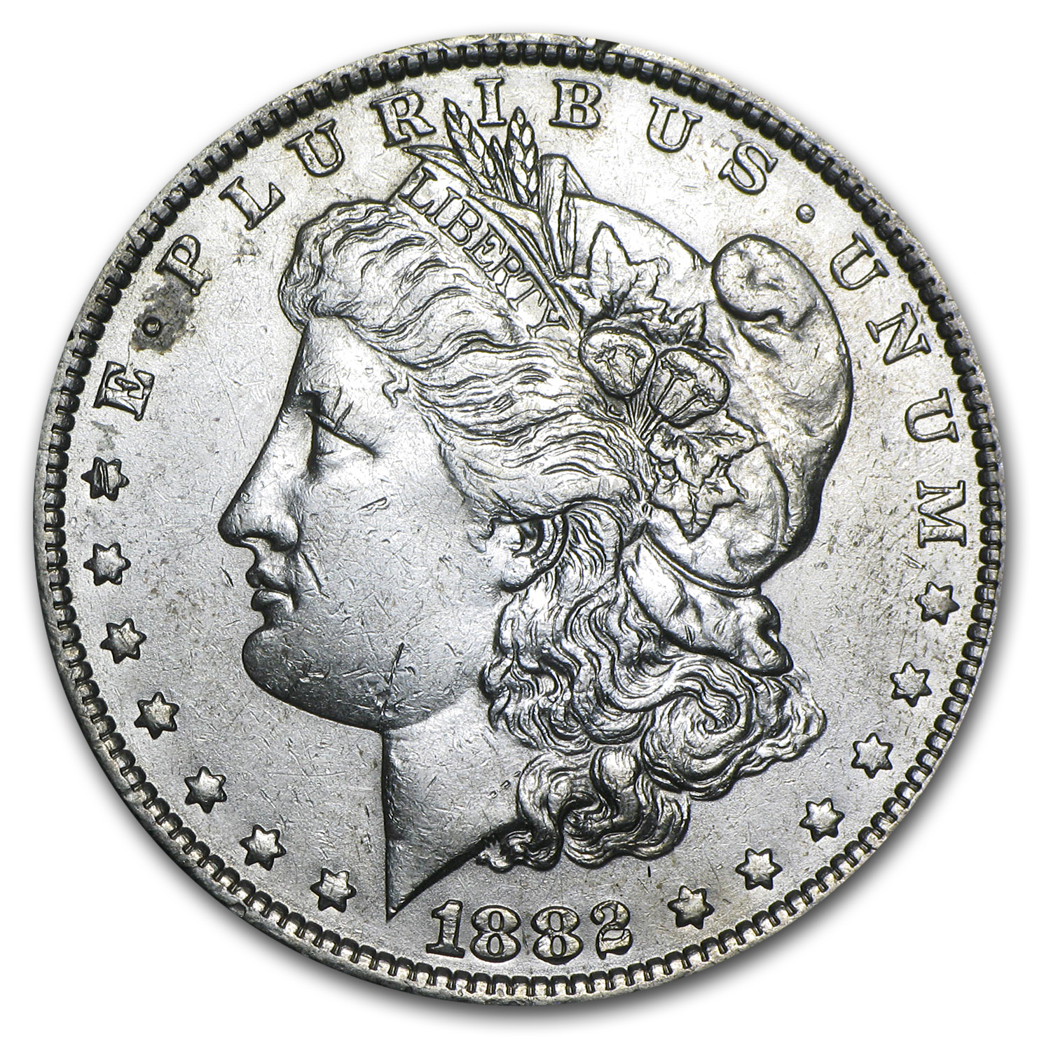 1882-O/S Morgan Dollar AU-50