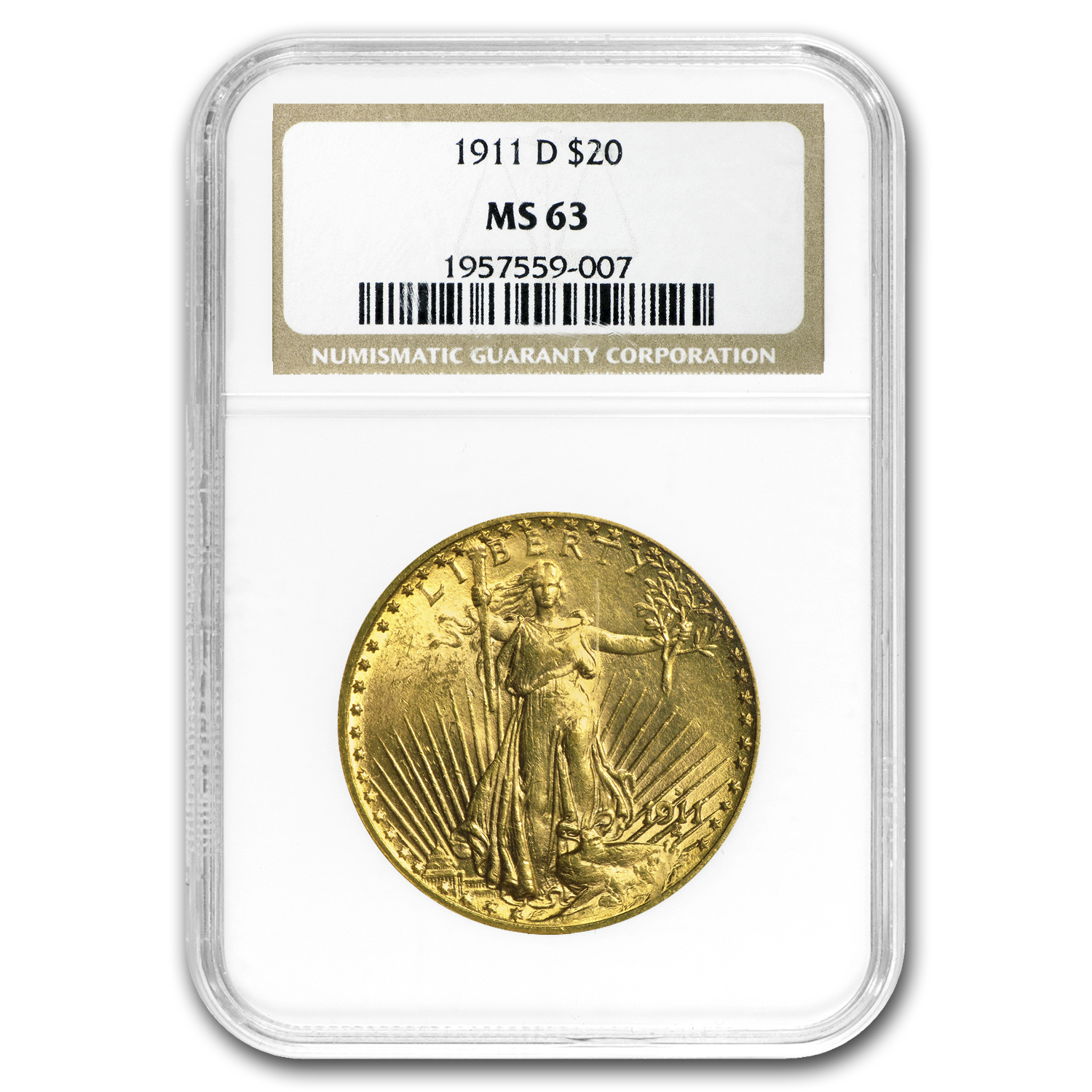 1911-D $20 St. Gaudens Gold Double Eagle MS-63 NGC