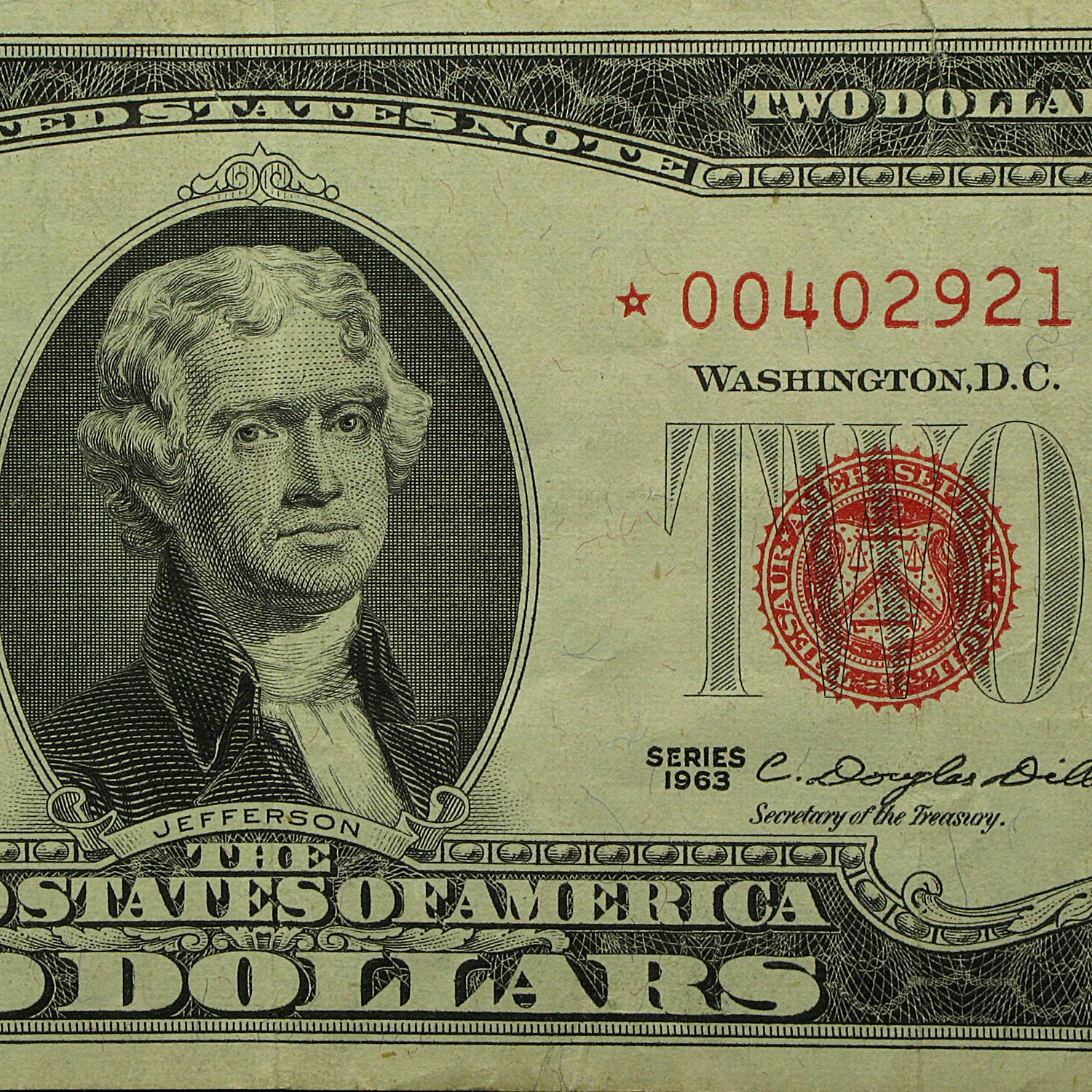 1963* $2.00 U.S. Note Red Seal VG/VF (Star Notes)