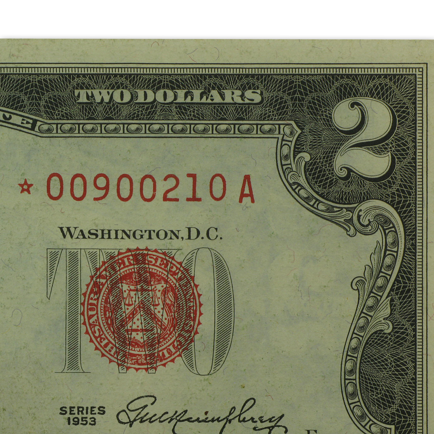 1953* $2.00 U.S. Note Red Seal XF (Star Note)