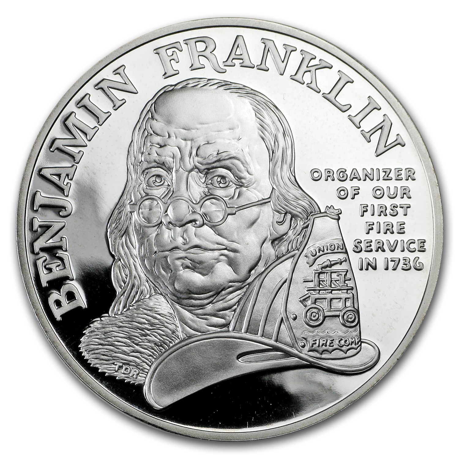 1992 Ben Franklin Firefighters Silver Medal Commem 1 oz Proof
