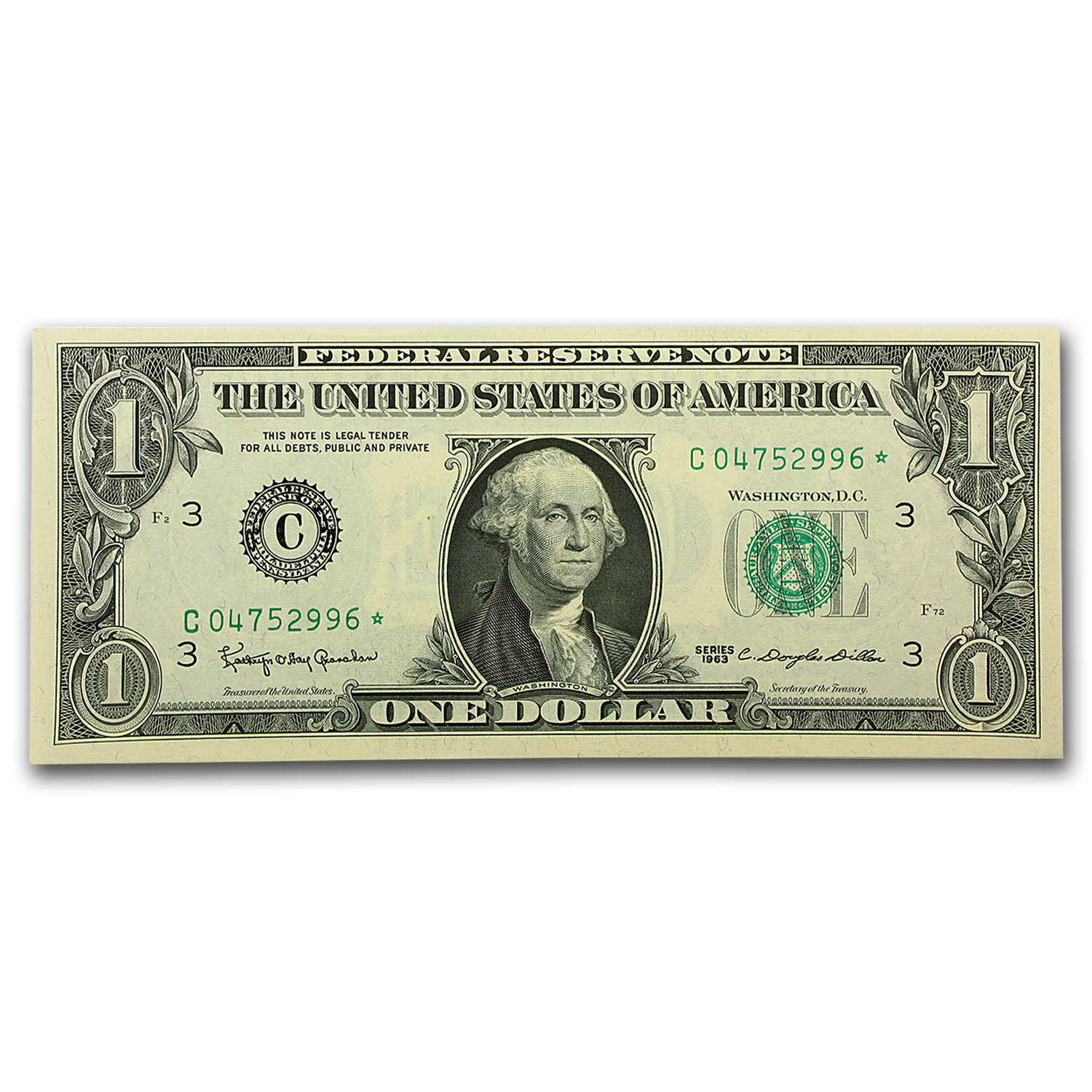 1963 $1.00 FRN CU (Star Notes, Districts of our choice)