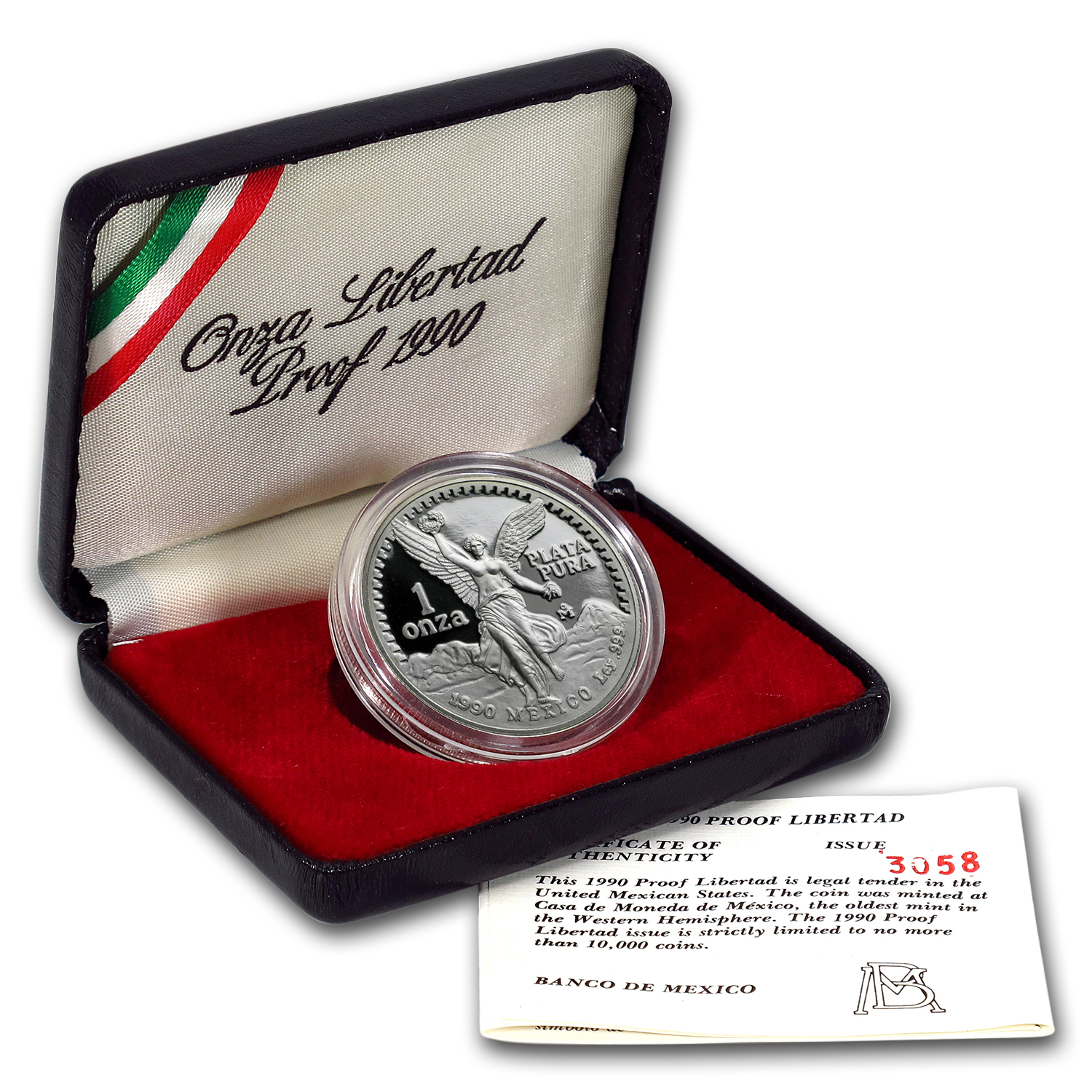 1990 1 oz Silver Mexican Libertad - Proof (w/Box & CoA)