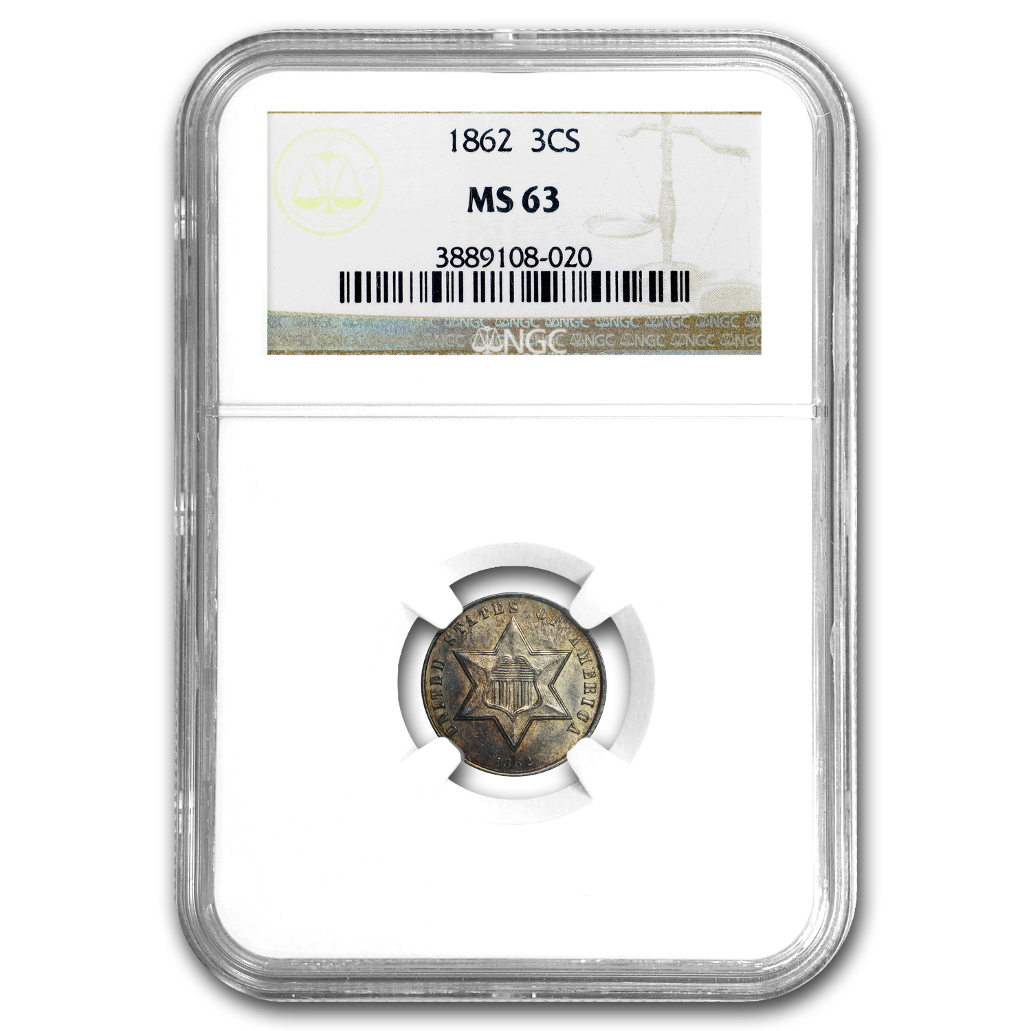 1862 Three Cent Silver MS-63 NGC