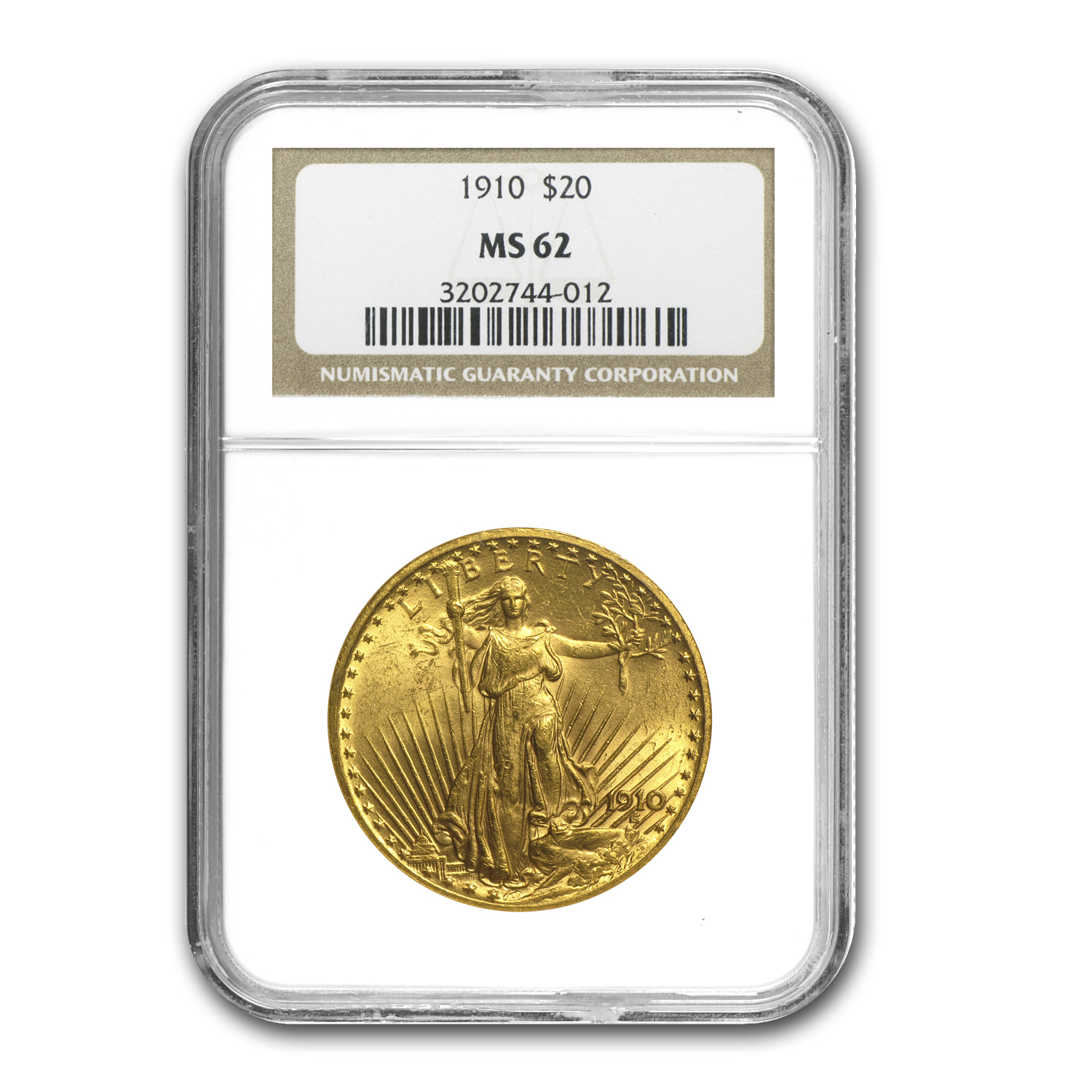 1910 $20 St. Gaudens Gold Double Eagle MS-62 NGC