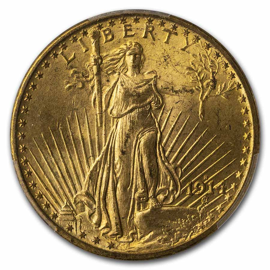 1914-S $20 St. Gaudens Gold Double Eagle - MS-65 PCGS