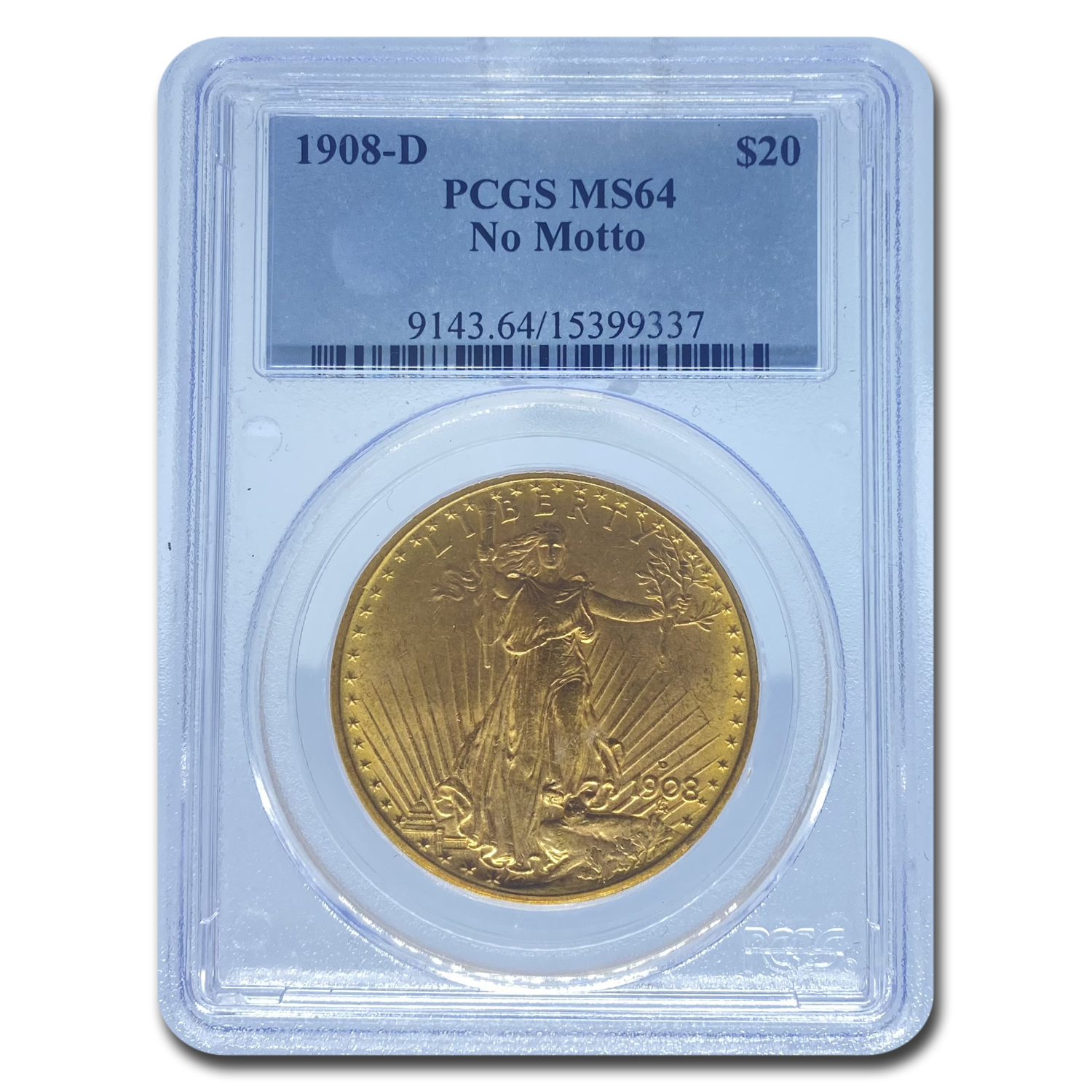 1908-D $20 St. Gaudens Gold No Motto MS-64 PCGS