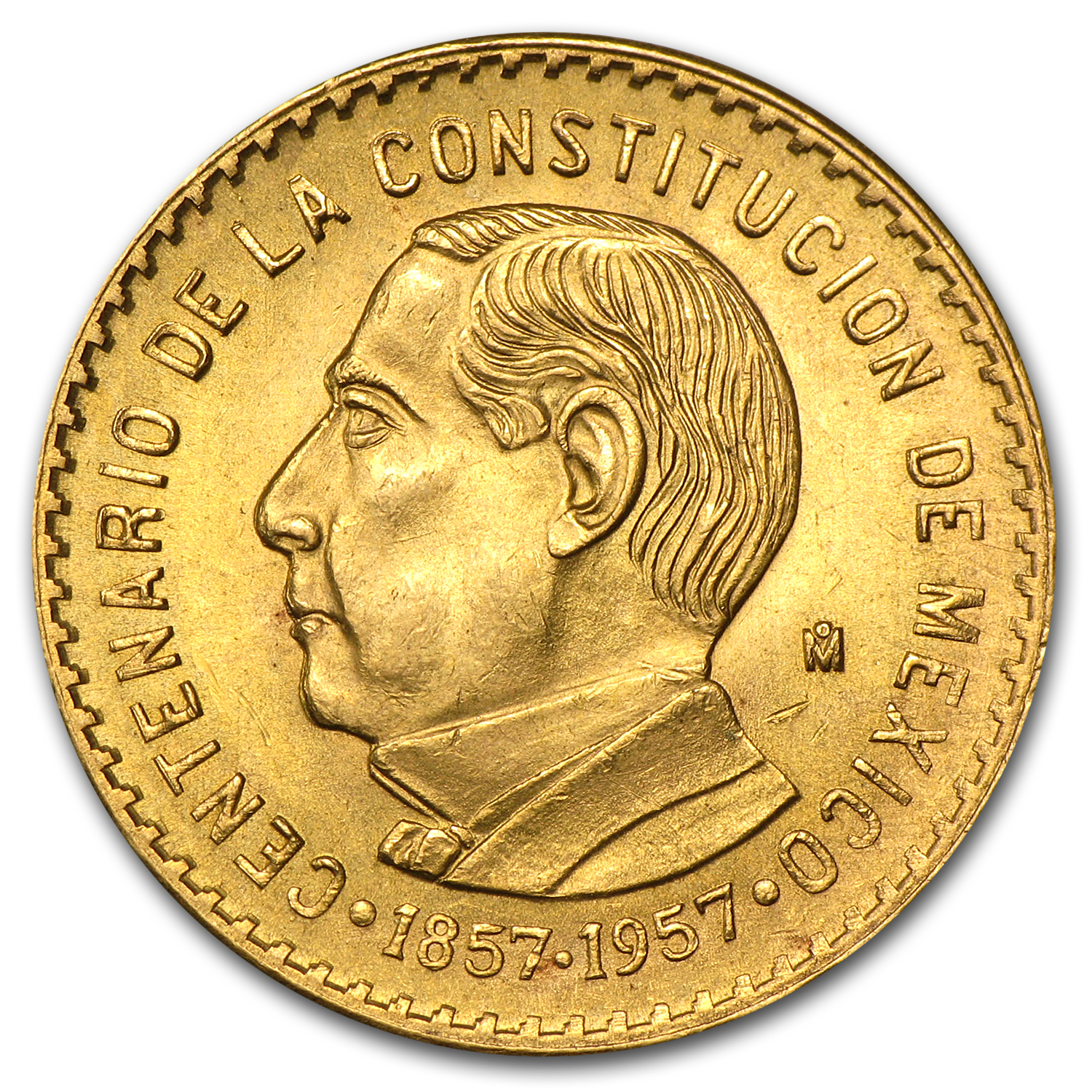 1957 Mexico Gold Centennial of the Constitution XF