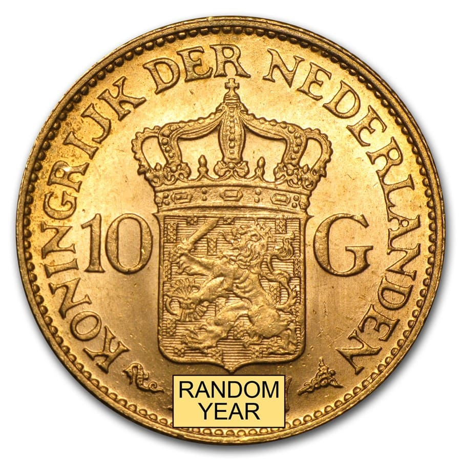 Netherlands Gold 10 Guilders Average Circ