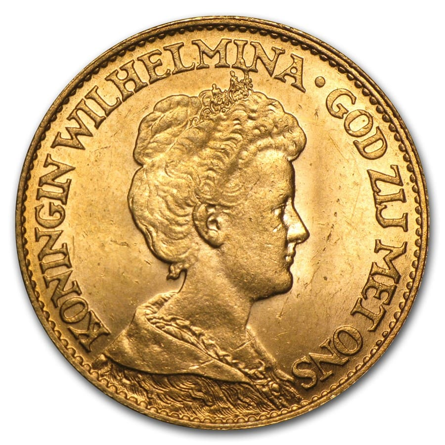 Netherlands Gold 10 Guilders (1875-1933) AGW .1947