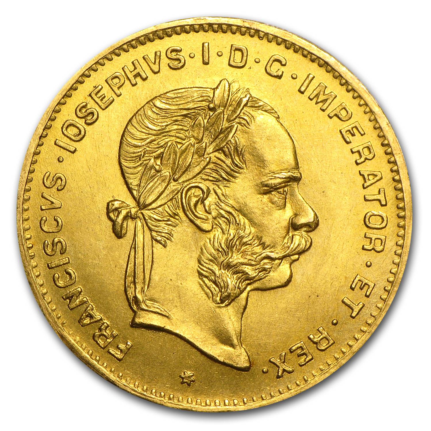 1892 Austria Gold 4 Florin/10 Francs AU or Better