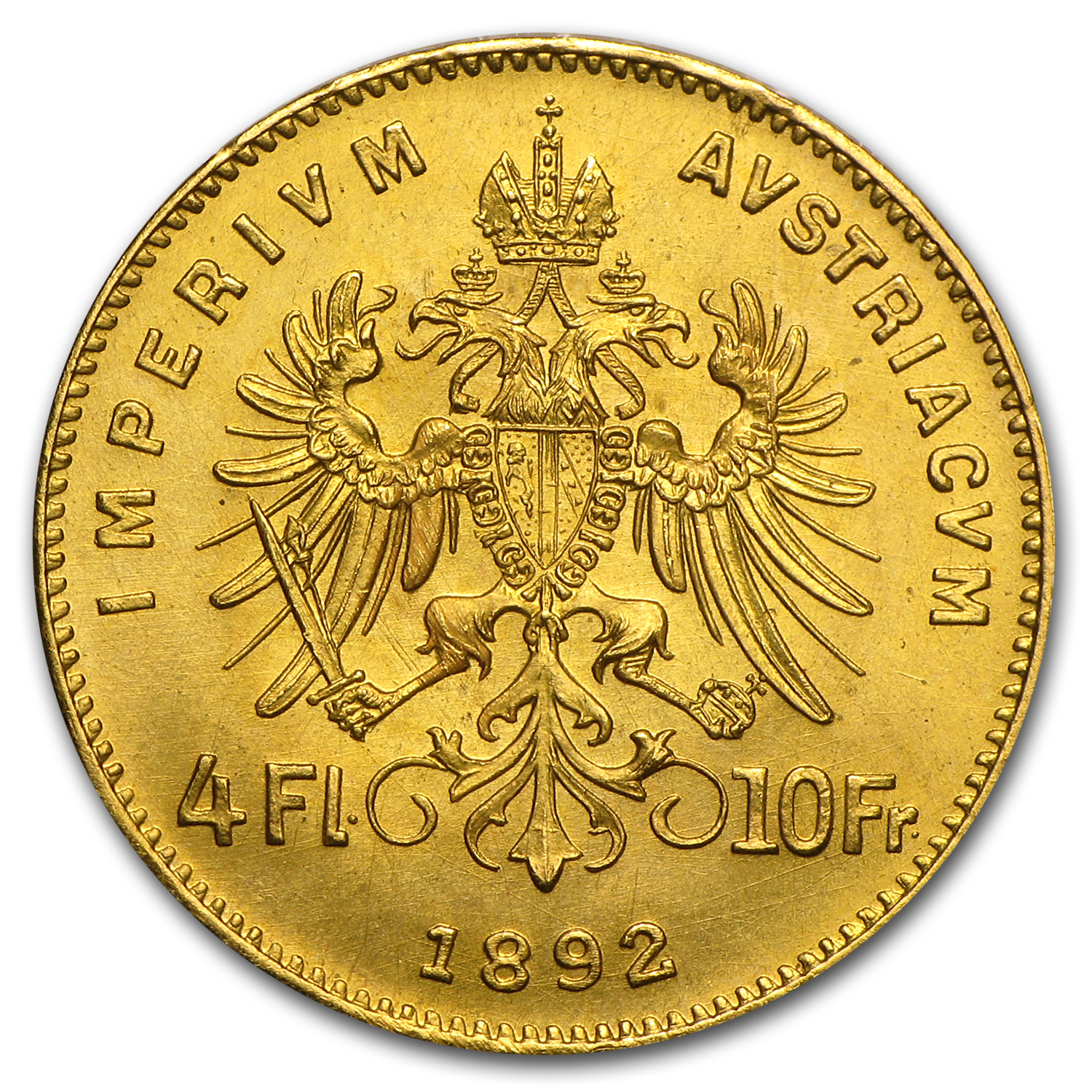 Austria 1892 4 Florin/10 Francs Gold Coin AU or Better