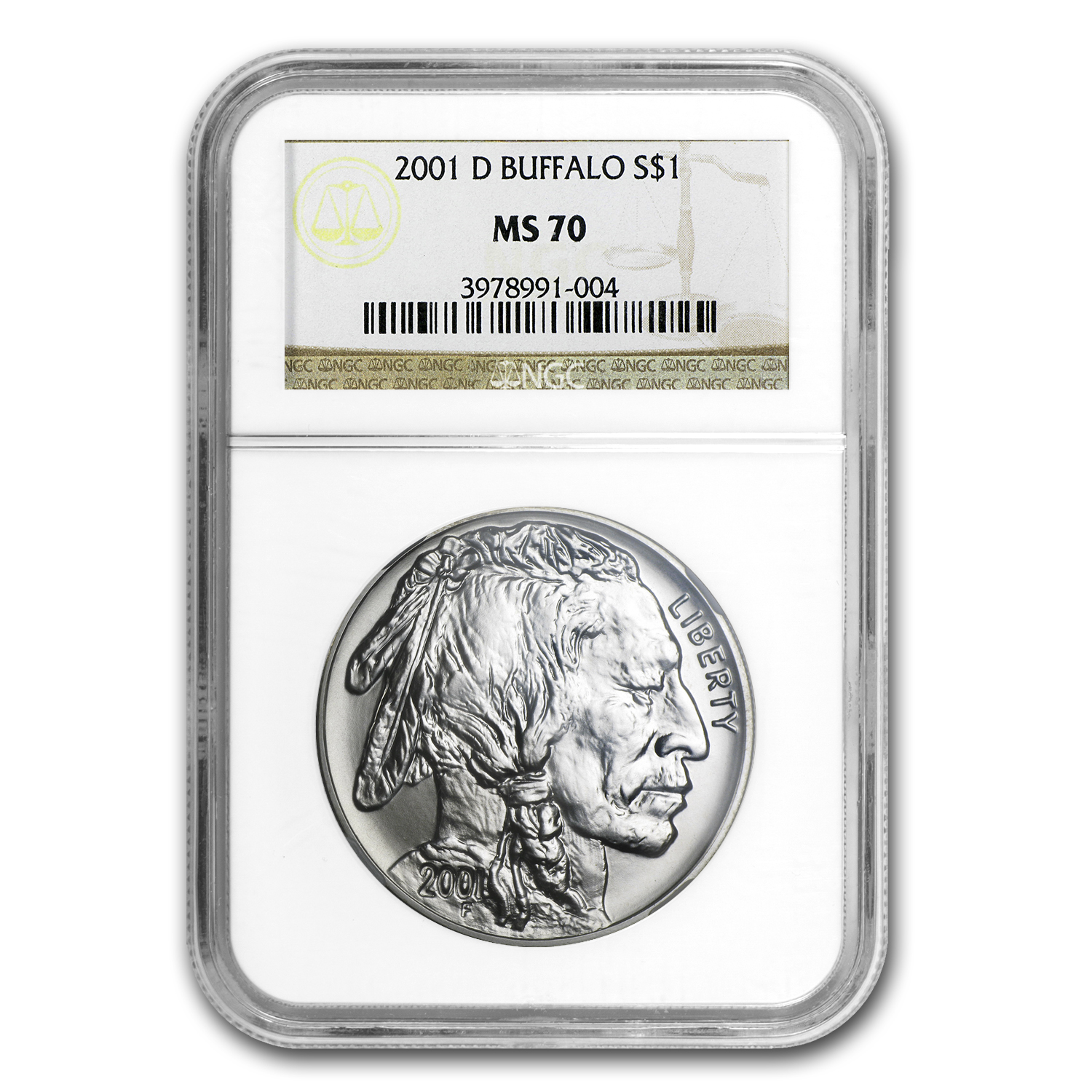 2001-D Buffalo $1 Silver Commem MS-70 NGC
