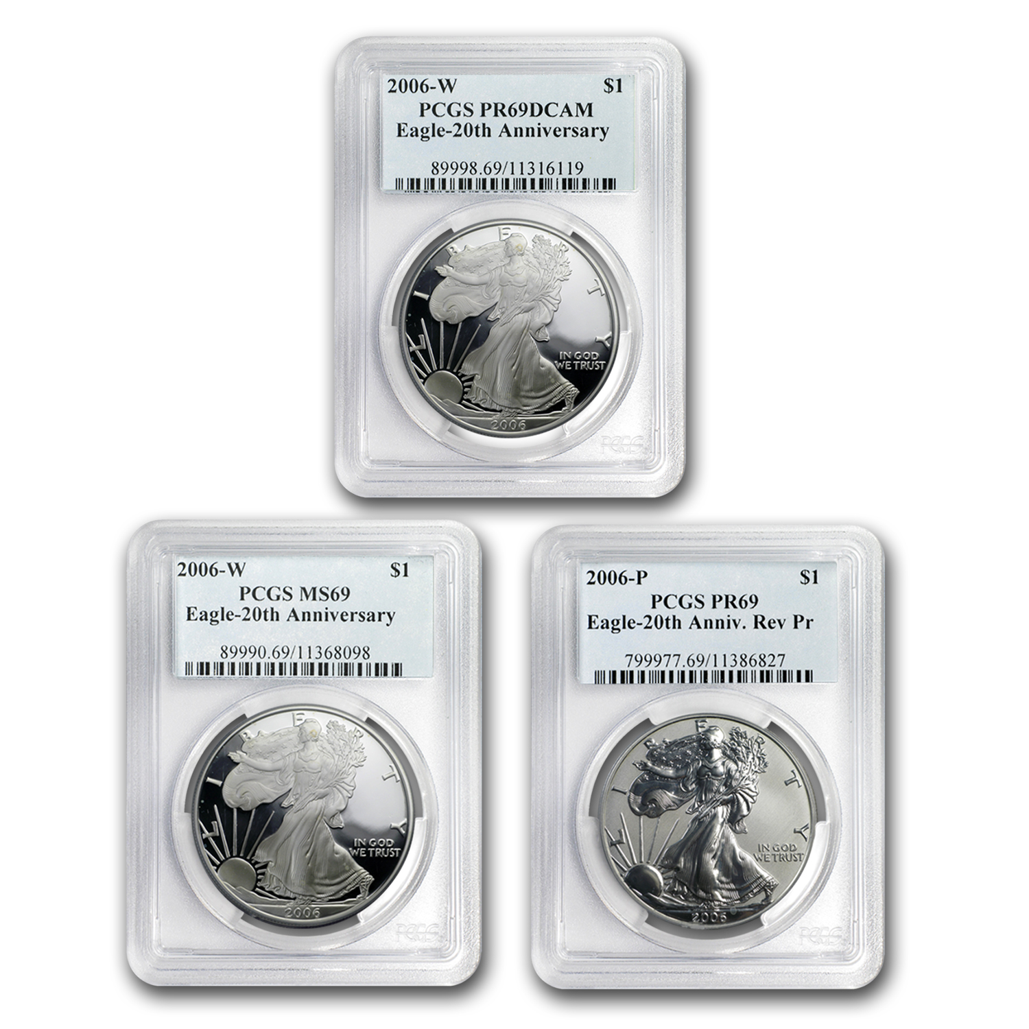 2006-W 3-Coin Silver American Eagle Set MS/PR-69 PCGS