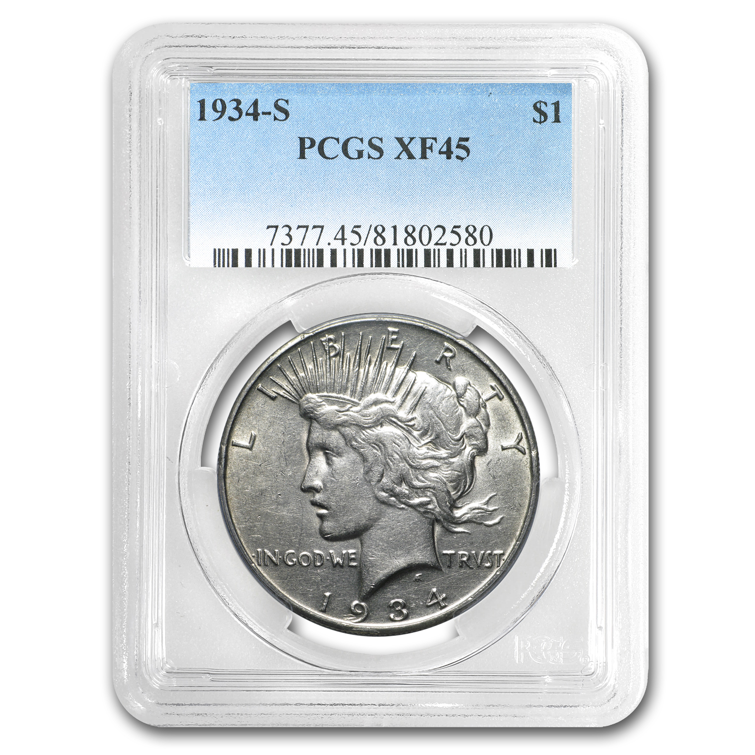 1934-S Peace Dollar XF-45 PCGS