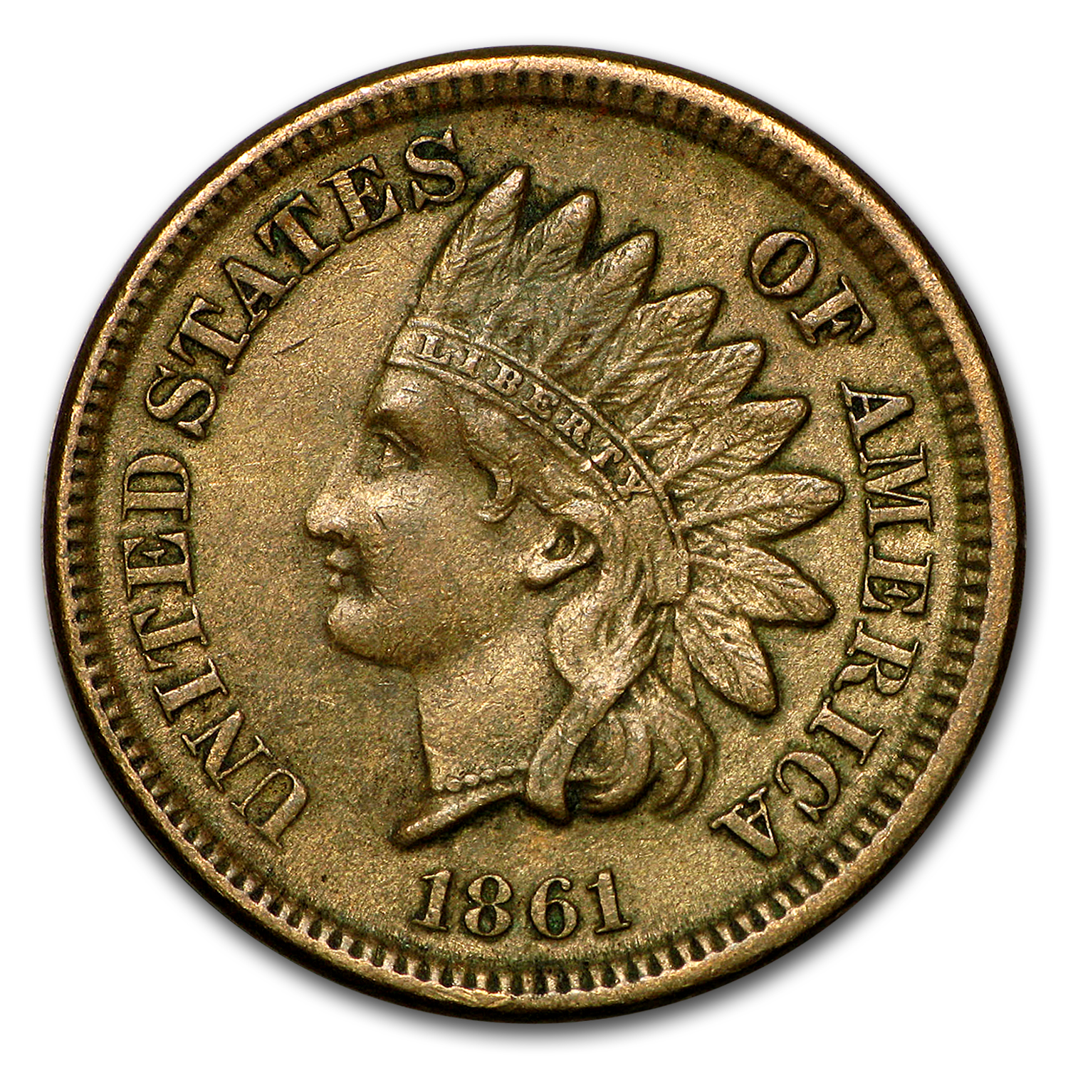 1861 Indian Head Cent AU