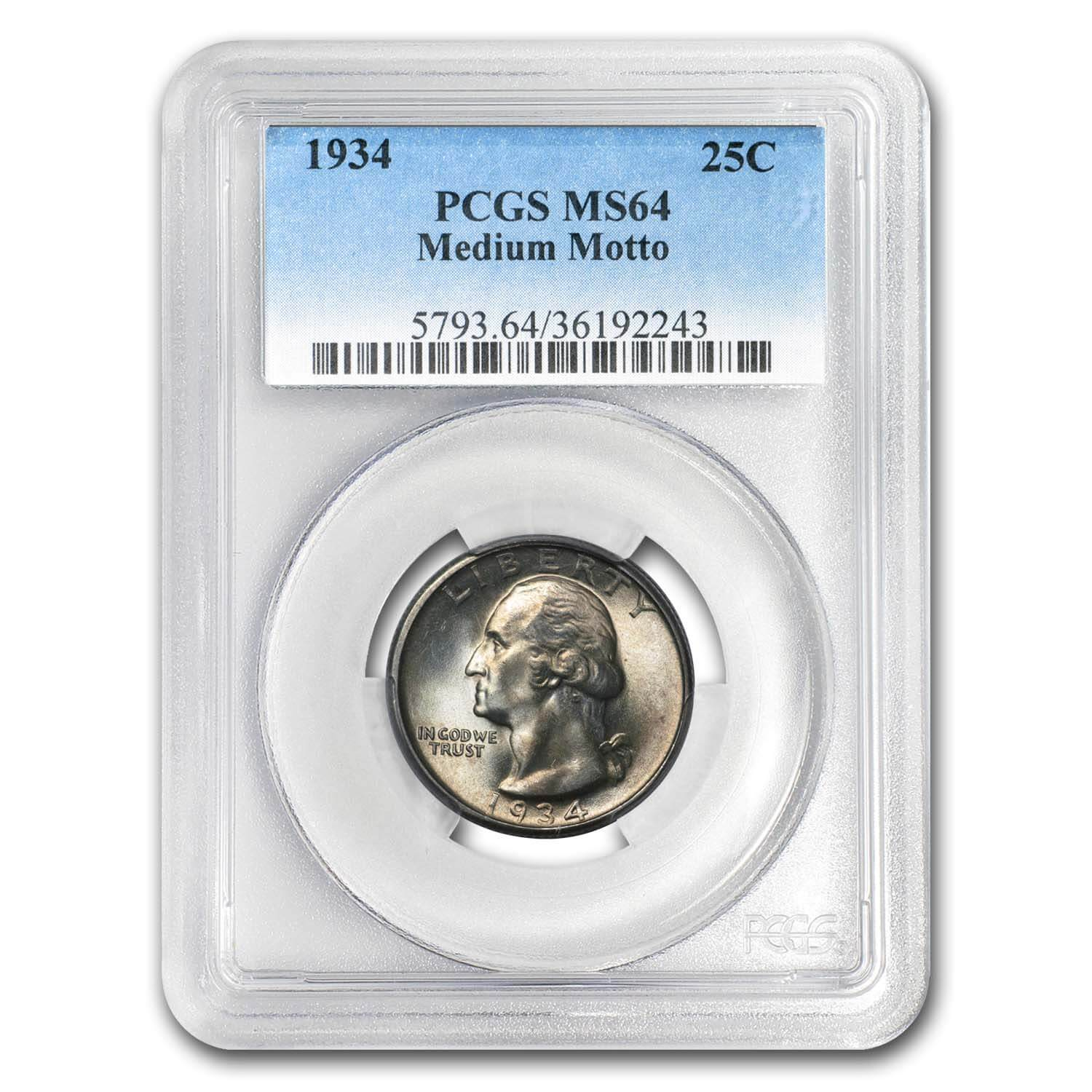 1934 Washington Quarter MS-64 PCGS