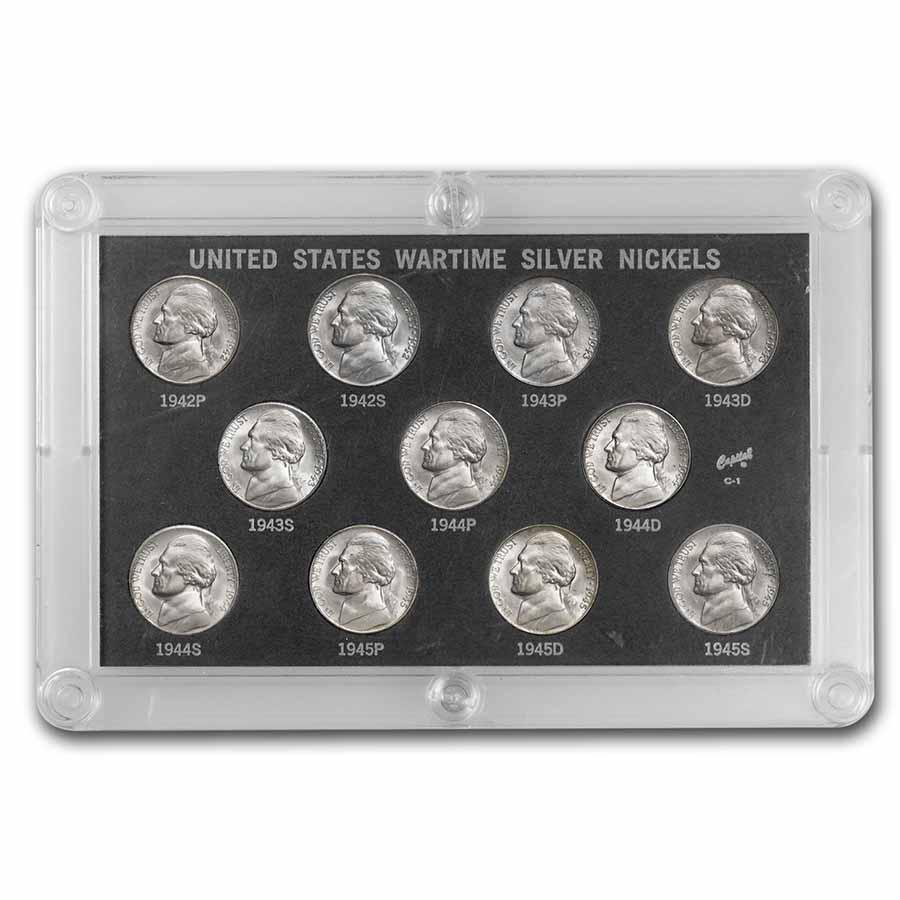 1942 1945 35 Silver Wartime Nickel Set Bu 35 Silver