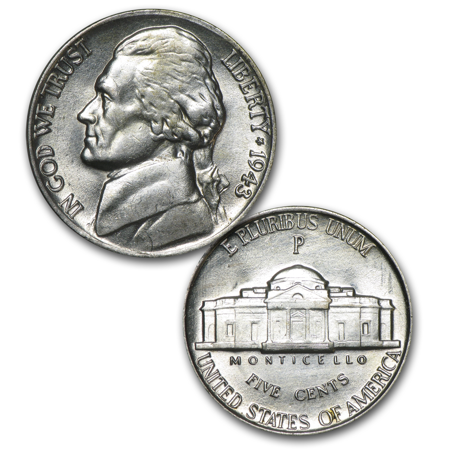 1942-1945 Wartime Nickel Set 35% Silver (Brilliant Uncirculated)