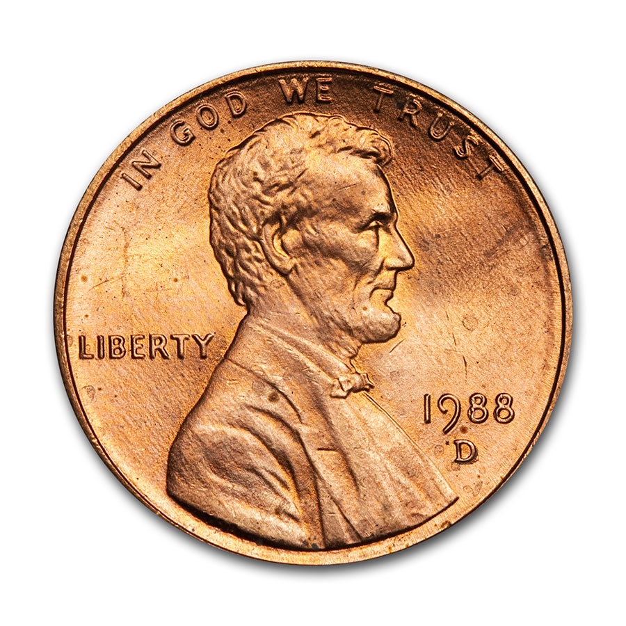 1988-D Lincoln Cent 50-Coin Roll BU